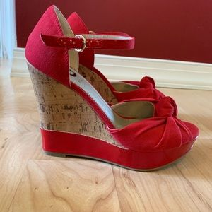 Guess red cork wedges